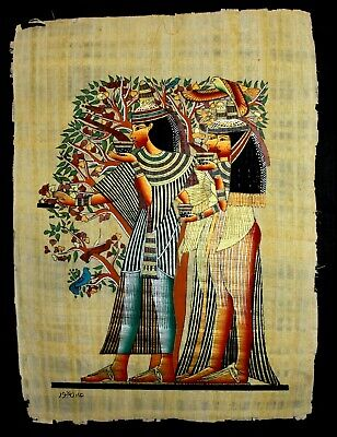 Rare Authentic Hand Painted Ancient Egyptian Papyrus -Pharaoh Women in the Shade