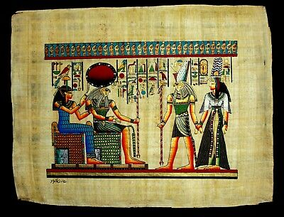 Rare Authentic Hand Painted Ancient Egyptian Papyrus-Nefertari Journey to A/life