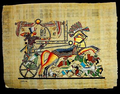 Rare Authentic Hand Painted Ancient Egyptian Papyrus - Ramses:Battle of Kadesh