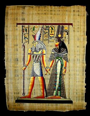 Rare Authentic Hand Painted Ancient Egyptian Papyrus -Queen Nefertari and Horus