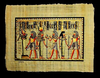 Rare Authentic Hand Painted Ancient Egyptian Papyrus-King Ramses and the Journey