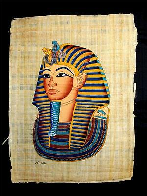 Rare Authentic Hand Painted Ancient Egyptian Papyrus-Mask of King Tut Ankh Amun