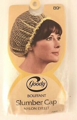 Vintage 1973 Goody Shower/ Slumber Cap White Nylon Eyelet Bouffant, New!
