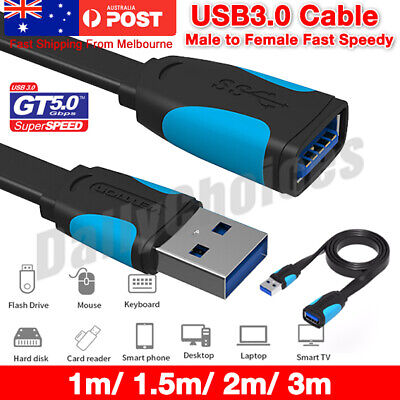 USB 3.0 Male to Female Extension Cable Super Speed Data Sync Extender Flat Cord