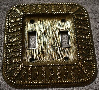 Vintage 1968 Amer Tack and Howe CO Brass Double Light Switch Bronze Cover Plate