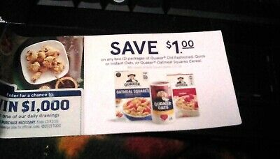 13 Quaker Oats or Oatmeal Squares Cereal Coupons Save $1 off 2 Exp 1/31/20