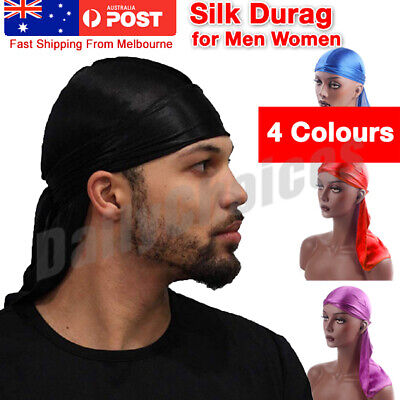 AU Unisex Men Women Bandana Doo Durag Headwear Soft Silk Pirate Cap Wrap Fashion