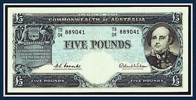 vUnc Quality Five Pound Paper Banknote 1960 Coombs/Wilson TD/04-889041 Reserve