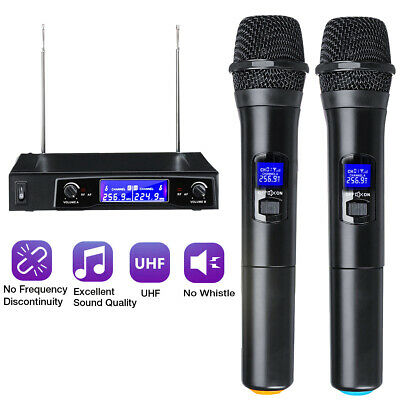 Professional Wireless Microphone Mic System UHF 2 Channel Dual Handheld Karaoke