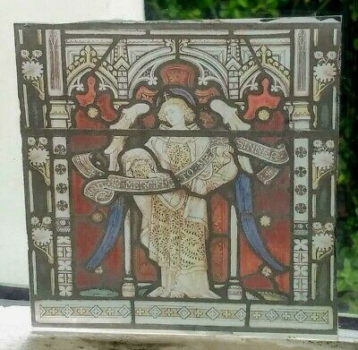 Stained Glass - Angel religious sinner kiln fired.transfer pane - RE-LISTED