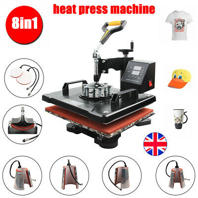 8 in 1 Heat Press Machine Digital Transfer Sublimation Combo Printer T shirt UK