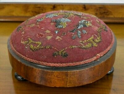 Antique domed top foot stool - beaded embroidery footstool