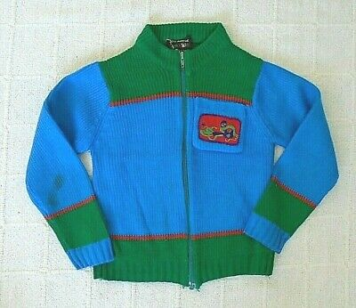 Vintage Boys Zip-up Cardigan - 3-4 Years Approx  - Blue/Green/Red - Used