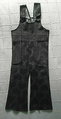 Vintage Stretch Dungarees - Age 4 years - Brown Hearts Design - New