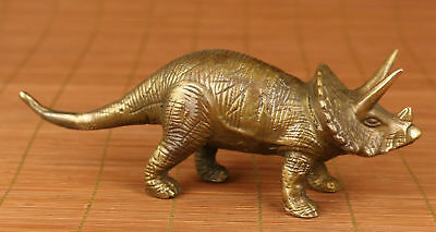 China Copper Brass Collection Hand Carved stegosaurus dinosaur Statue Figure