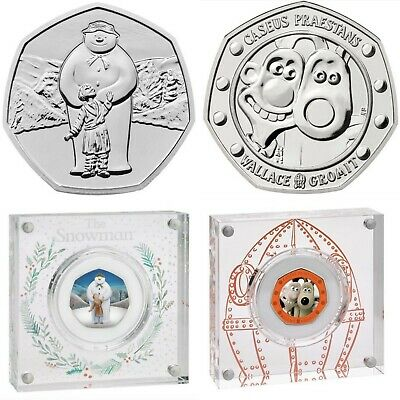 Snowman / Wallace & Gromit 2019 50p Brilliant Uncirculated / Silver Proof Coin