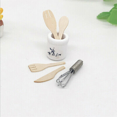1:12 Miniature wooden knife and fork metal whisk jar doll house accessorieCP