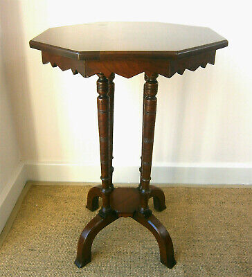 Late Victorian Aesthetic, Gothic, Walnut, Octagonal, Lamp or Side Table C.1880