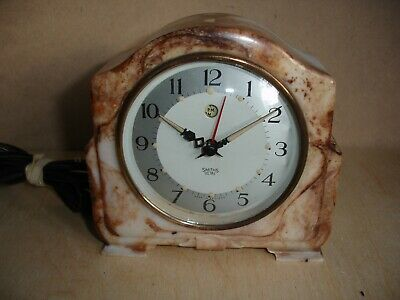 A Vintage Smiths Sectric Electric Marble Effect Bakelite Mantel Alarm Clock.