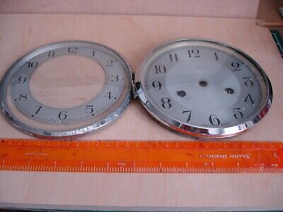 2 x GLASS / RIM/FACE FROM AN OLD MANTLE CLOCK OUTER 6 1/4 inch diam