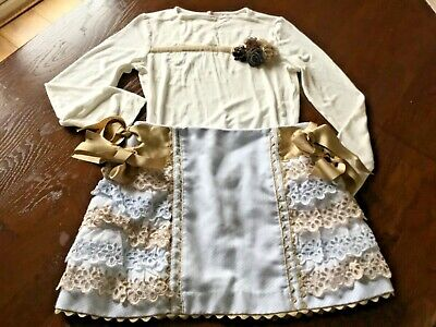 Monnalisa/Lolittos,Lace Layered Gold Bow Skirt~Beige Floral Trim Jersey Top -10