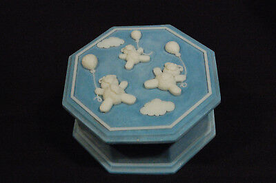 Vintage Blue Teddy Bear Large Incolay Stone Octagon Jewelry Box