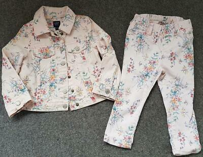 Gorgeous Girls, Floral Canvas Jacket/Jeans Set  2-3 Years From Gap