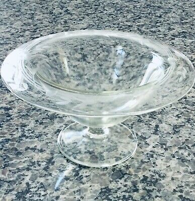 """Vintage Clear Etched Footed Candy/Compote Dish - Floral on Edge - 7"""" Across- 4""""H"""