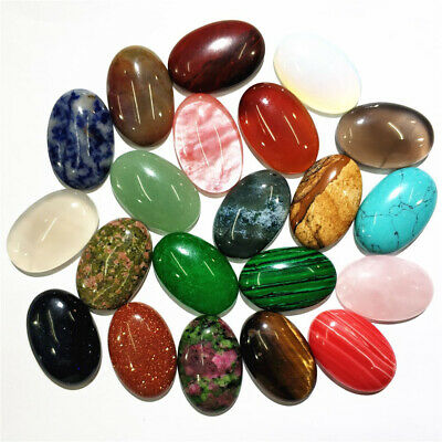 5x Natural Oval Stone Crystal Semi-precious Charms DIY Beads for Jewelry Making