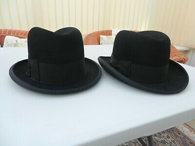 A pair of vintage homburg hats