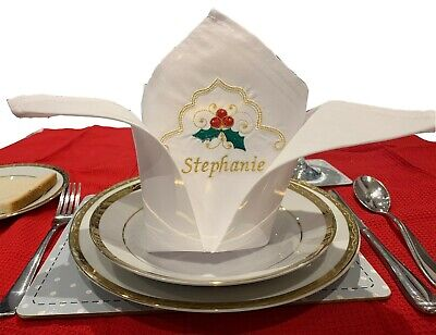 Luxury Personalised Embroidered Christmas Napkins - (Napkins come pre-folded)