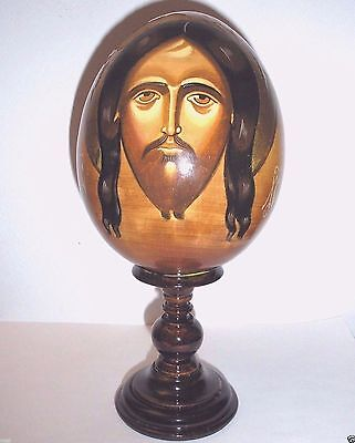 Very Large Old Hand Painted Russian Wooden Christmas Ornament Icon Egg