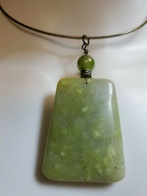 Grade Natural Genuine  Jadeite Jade Choker  Pendant Necklace