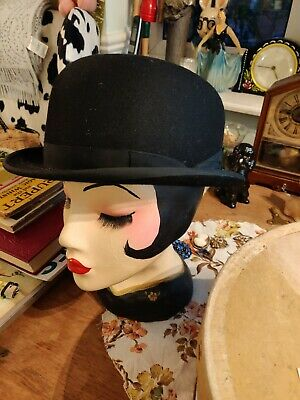 Christy's London Vintage Black Bowler Hat and box