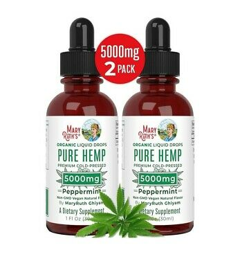 2 Pack Mary Ruths Organic Pure Hemp Oil Extract 5000mg for Pain Stress Relief