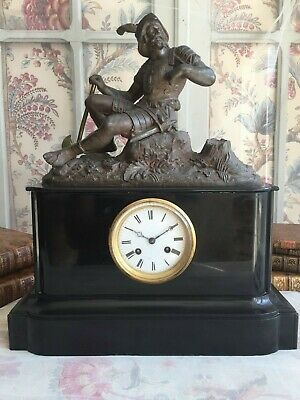 Wonderful Antique French Mantel Clock Pendulum Sculpture Bronze Patina Marble