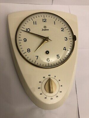 Vintage Retro Junghans Wall Clock With Timer