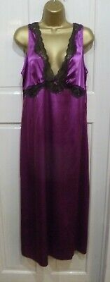 Vtg Style M&S Autograph Gorgeous Plum Slithery Liquid Satin Nightdress Size 14