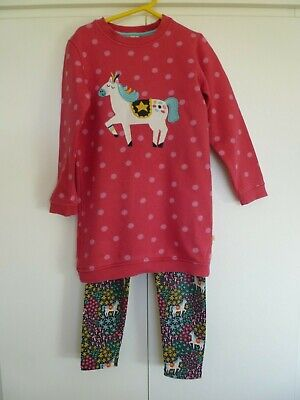 Girls FRUGI Jumper Dress and Leggings Outfit Horse Design Age 5 - 6 years