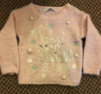 Toddler Girls Fluffy Christmas Jumper Baby Pink Colour With Glitter  Age 1-1.5