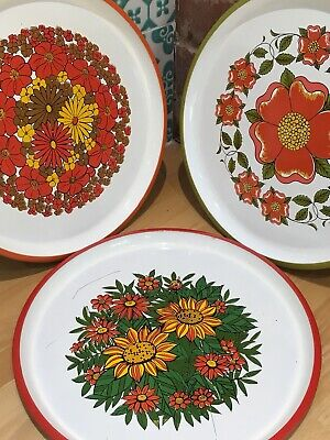Three Vintage Retro Flower Power Plates Japan Laquer Funky Disply Kitchenalia