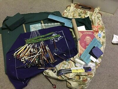 Lacemaking Bundle Including Pillow and Beautiful Painted and Spangled Bobbins
