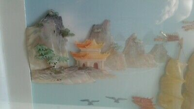 Carved Shell/Mother of Pearl Chinese Art Shadowbox ocean boat scene