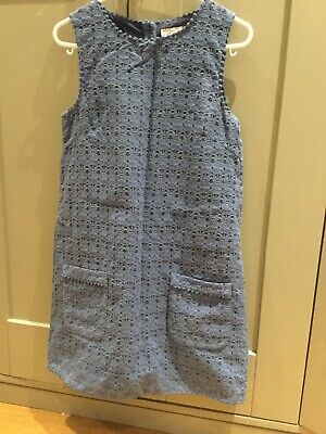 Girls Next Shift Dress Age 12. Blue With Embossed Floral Pattern And Pockets.