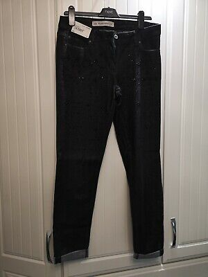 Bnwt Next Black Relaxed Skinny Embellished Jeans 12 Long
