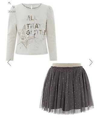 Monsoon Girls Glitter Top & Skirt Set New With Tags Size 11-12yrs