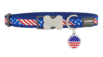 Stainless Steel Red Dingo American Flag Dog Tag Matching Collar Combo