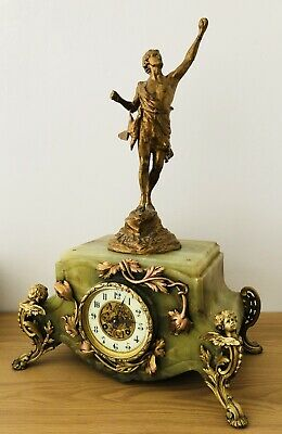 Antique Large French Clock Beautiful Ornate With Cherubs  Garlands  Ormolu