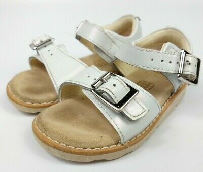 Clarks Girls Infant Leather Sandals White Buckle Strap Size 4.5 G EU 20.5
