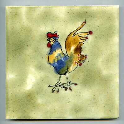 """Rare, early hand painted 6""""sq tile by John Cutting for Withersdale Tiles, c1970"""